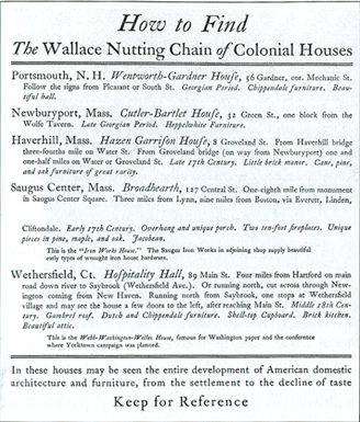 "Historical advertisement for Nutting's ""Chain of Colonial Houses"""