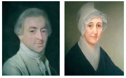 Portraits of Joseph Webb III and his wife Abigail Chester Webb. Joseph's likeness is a pastel by artist John Singleton Copley, c.1774. Abigail's portrait is an oil on canvas by an unknown artist c.1800. Collection of the Kent-Delord House Museum, Plattsburgh, NY.