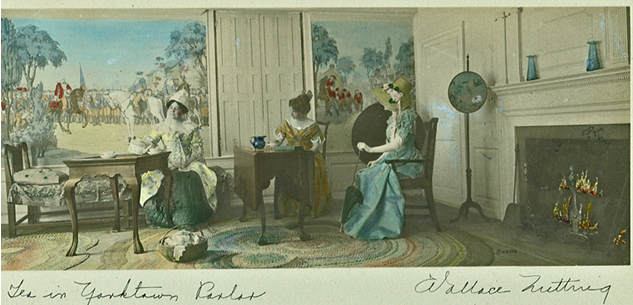 """Tea in Yorktown Parlor,"" ca. 1916.  W-D-S Collection.   The mural on the left portrays the British surrender at Yorktown, Virginia in 1781"