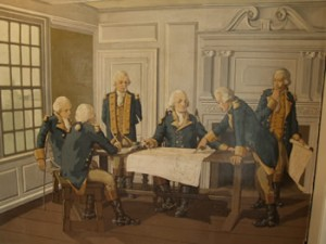 Mural depicting the council of war between Washington and the comte de Rochembeau. Note the elaborate overmantel that was added by Nutting in 1916 and removed by the Colonial Dames as part of their restoration, c. 1920. It is now at the Winterthur Museum in Delaware.