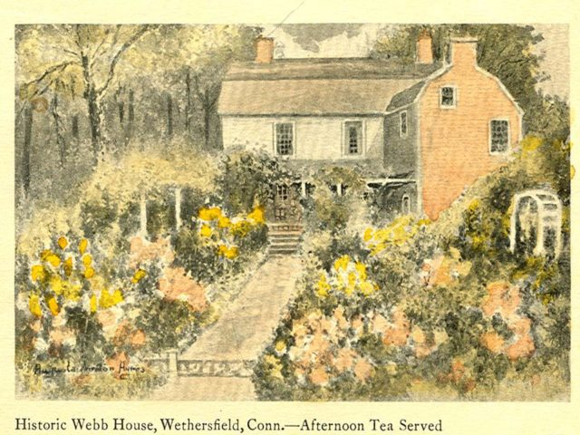 An artist's' rendering of the Webb-Deane-Stevens Museum Colonial Revival garden in the 1920s.
